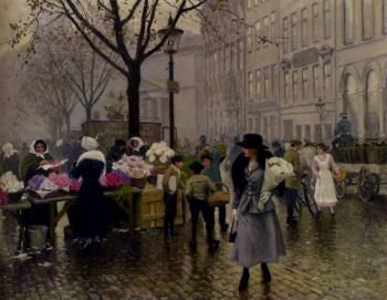 Fischer Paul Gustave The Flower Market Copenhagen
