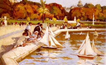 Children Sailing Their Boats In The Luxembourg Gardens
