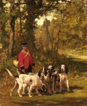 Charles Olivier De Penne : A Huntmaster with his Dogs on a Forest Trail