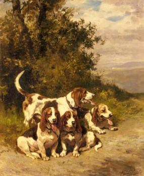 Charles Olivier De Penne : Hunting Dogs on a Forest Path
