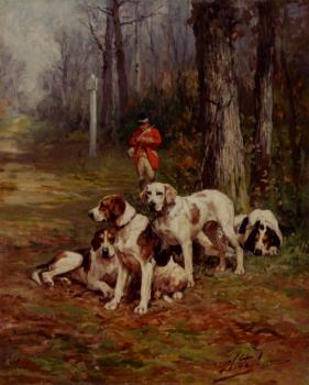 Charles Olivier De Penne : hunting dogs at rest