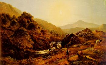 Sidney Richard Percy : Figures On A Path By A Rocky Stream