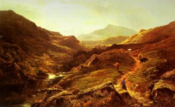 Sidney Richard Percy : Moel Siabod from Glyn Lledr, with Figures and Cattle on a Ri