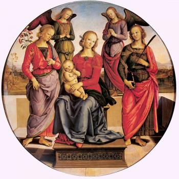 Pietro Perugino : Madonna Enthroned with Child and Two Saints