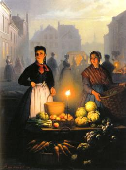 A Market Stall By Moonlight