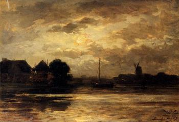 View Of The Spaarne Haarlem By Moonlight