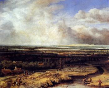 Philips Koninck : An Extensive Landscape With A Hawking Party