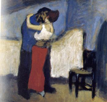 Pablo Picasso : embrace in an attic