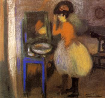Pablo Picasso : girl at her dressing table