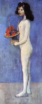 Pablo Picasso : Girl with a basket of flowers