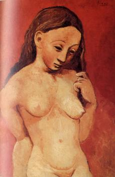 Pablo Picasso : female nude against a red background