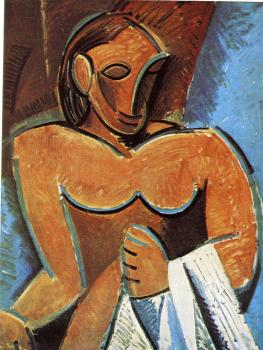 Pablo Picasso : nude with a towel