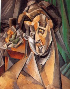 Pablo Picasso : bust of a woman in front of a still life
