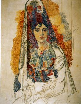 Pablo Picasso : woman in a mantilla