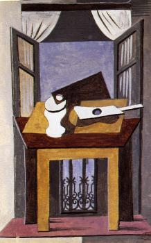 Pablo Picasso : still life on a table in front of an open window
