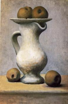 Pablo Picasso : still life with pitcher and apples