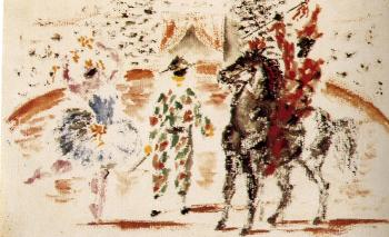 Pablo Picasso : harlequin on the stage with dancer and rider