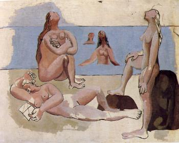 Pablo Picasso : bathers watching an airplane