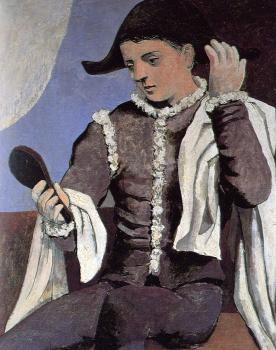 seated harlequin with mirror