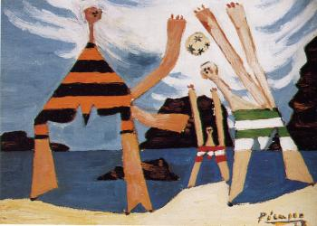 bathers with a ball