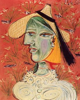 woman in a straw hat against a flowered background