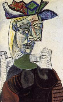seated woman in a hat