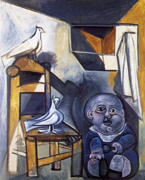 child with doves