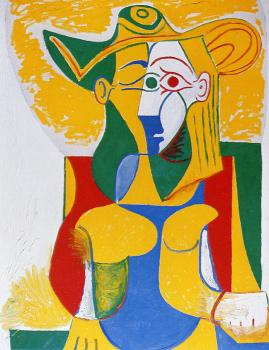 Pablo Picasso : seated woman in a yellow and green hat