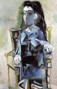 Pablo Picasso : jacqueline seated with her black cat