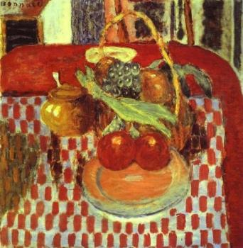 Pierre Bonnard : Basket and Plate of Fruit on a Red-Checkered Tablecloth