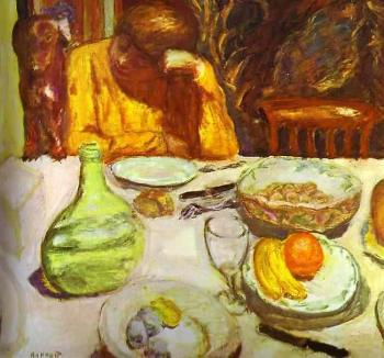 Pierre Bonnard : Carafe, Marthe Bonnard with Her Dog