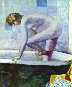 Pierre Bonnard : Nude Washing Feet in a Bathtub