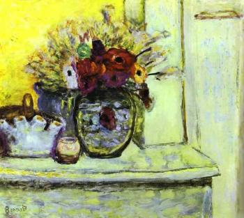 Pierre Bonnard : Vase with Anemonies and Empty Vase