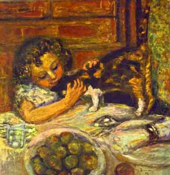 Pierre Bonnard : Little Girl with a Cat