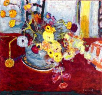 Pierre Bonnard : Flowers on a Red Carpet