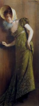 Pierre Carrier-Belleuse : Elegant Woman In A Green Dress