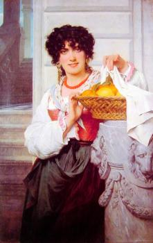 Pierre-Auguste Cot : Pisan Girl with Basket of Oranges and Lemons