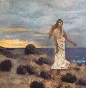 Pierre-Cecile Puvis De Chavannes : Woman By The Sea