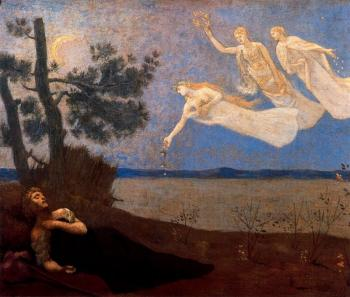 Pierre-Cecile Puvis De Chavannes : The Dream: In his sleep he Saw Love, Glory and Wealth Appear to Him