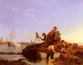 Pieter Christian Dommerson : Artist At His Easel With Shipping Beyond