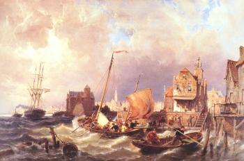 Pieter Christian Dommerson : Shipping before a Dutch Harbour Town