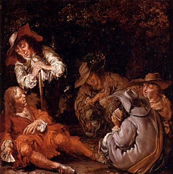 Pieter Codde : Travelers Resting On A Path