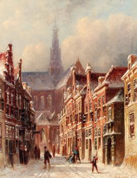 A Snowy Street with The St Bavo Beyond Haarlem