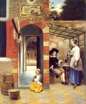 Pieter De Hooch : Figures Drinking in a Courtyard