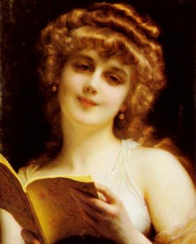 Etienne Adolphe Piot : A Blonde Beauty Holding a Book