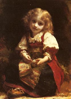 Etienne Adolphe Piot : A Little Girl Holding A Bird