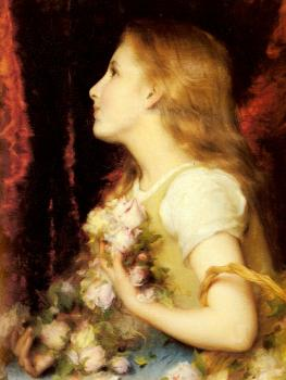 Etienne Adolphe Piot : A Young Girl with a Basket of Flowers