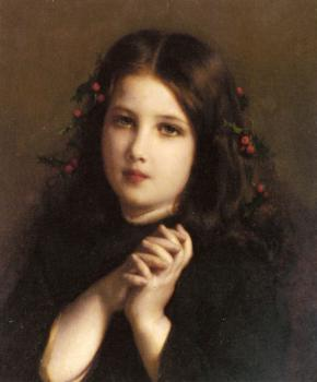 Etienne Adolphe Piot : A Young Girl with Holly Berries in her Hair