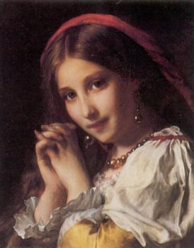 Etienne Adolphe Piot : Portrait of a Girl with Red Shawl