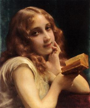 Etienne Adolphe Piot : A Little Girl Reading